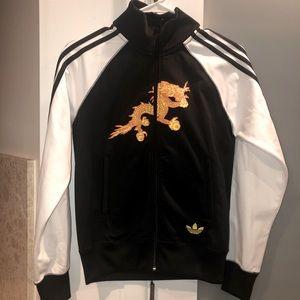 Vintage Adidas Bhutan Yellow Dragon Soccer Track Jacket Small